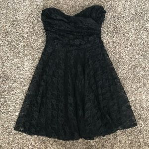 Express Black Strapless Sweetheart Lace Dress